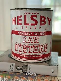 RARE Vintage Helsby Brand Oyster 1 Gallon Tin Can- PACKER VA 277 Collectible