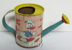 RARE Vintage Sm Tin Litho Toy Watering Can OHIO ART Disney DONALD DUCK 1938