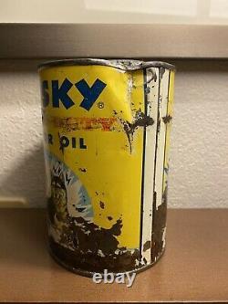 RARE! Vintage Yellow Husky motor oil can empty 1 quart metal
