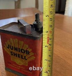 RARE Vintage motor car Fuel Can 1930's JUNIOR SHELL petrolania garage man cave +