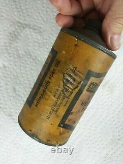 RaRe- Vintage 1940's 50's Paper Polish & Fork Oil Harley Davidson Cans Full