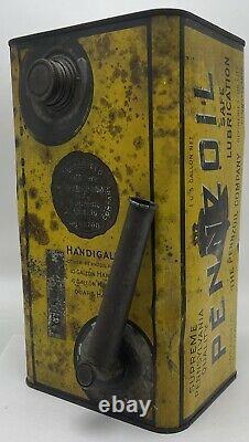 Rare 1930s Era Antique Pennzoil Handi Gallon Motor Oil Can With Built In Spout
