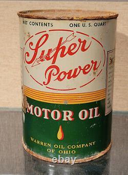 Rare 1930s Supper Power 1 Quart Motor Oil Can Warren Oil Co Of Ohio Arrow