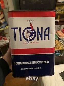 Rare 1963 Tiona Petroleum Company Motor Oil Can Tiopet Indian Phila PA NJ