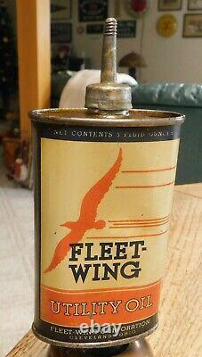 Rare 3oz. Pre-War Advertising Fleet-Wing Utility Handy Oiler Can NICE