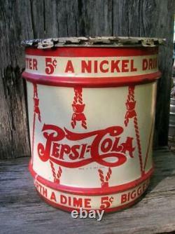 Rare Antique 1940's Pepsi Cola Syrup 10 Gallon Can Sign Advertising