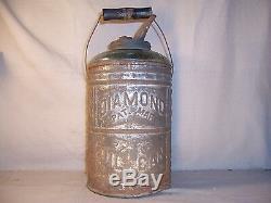 Rare Antique Diamond Glass / Tin Oil Can Pat. Mar. 27 1883 Kerosene Can Bottle