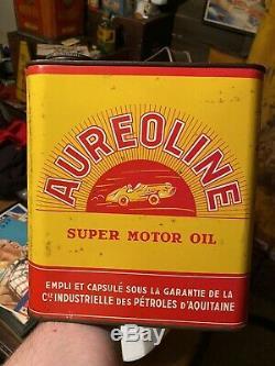 Rare Aureoline Super Motor Oil Gallon Can Race Car Graphics Sign Tin Gas