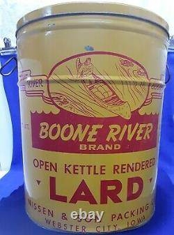 Rare BOONE RIVER 50# Lard Tin Can NISSON PACKING canoe Webster City IOWA sign
