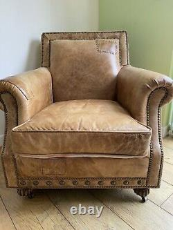 Rare Barker And Stonehouse Halo Tan Leather Retro Club Armchair CAN DELiVER