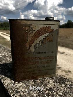 Rare Bidon Huile Ancien Eoleïne Oil Can Oel Dose Tin Latta Aviation Automobilia