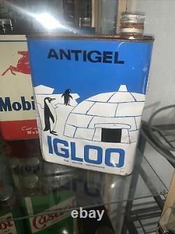 Rare Bidon Huile Ancien Igloo Antigel Oel Dose Oil Can Tin Latta