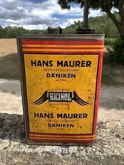 Rare Bidon Huile Ancien Ricinol Oil Can Oël Dose Latta