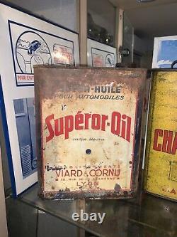 Rare Bidon Huile Ancien Superior-oil Oel Dose Oil Can Tin Latta