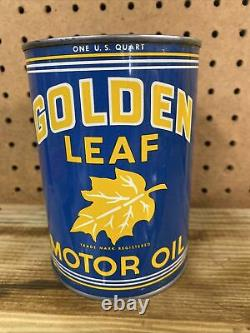 Rare & Clean Golden Leaf 1 Qt Motor Oil Can