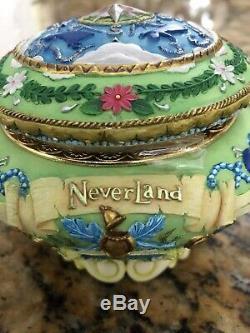 Rare Disney Never land Peter Pan & Tinker Bell You Can Fly Porcelain Music Box