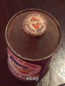Rare Donald Duck Imitation Grape Cone Top Soda Can-Vintage 1952