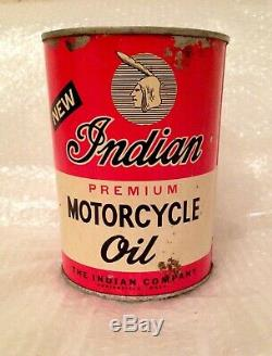 Rare Early New Indian Oil Can Quart Great Graphics