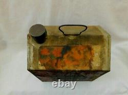 Rare Early Towle's Log Cabin Tin Antique Syrup Can With Paper Label, Handle & Cap