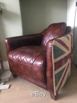 Rare Halo Timothy Oulton Vintage Leather Rocket Aviator Armchair CAN DELIVER