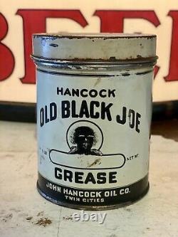 Rare Hancock Oil Company Old Black Joe Grease Can