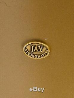 Rare Jay Strongwater Arabesque Crystal Enamel Vanity Wastebasket Trash Can