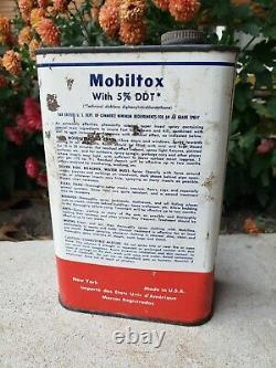 Rare Mobiltox Quart Super Insect Spray Can Mobil Mobiloil Ddt Gas Oil Garage