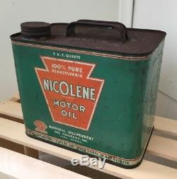 Rare Nicolene National Independent Co 5 Quart Motor Oil Can York PA Sign Pump