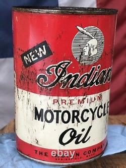Rare Original Old Indian Motorcycle Oil Can Quart Motocycle FULL Chief scout