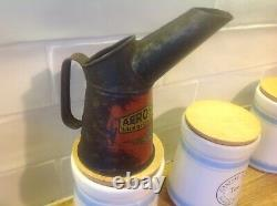 Rare Vintage 1920 oil Pouring can AEROSHELL Lubricanting Oil 1/2 Pint