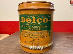 Rare Vintage 5 Gallon Delco Shock Fluid Oil Can Dealer Display Original Gm 619