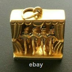 Rare Vintage 9ct Gold Charm Articulated Can Can Cabaret Dancers HM 4.56g