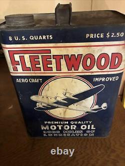 Rare Vintage FLEETWOOD Aero Craft 2-gallon Motor Oil Can Excellent Piece