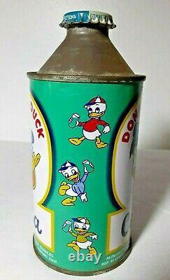 Rare Vintage General Beverages Donald Duck Cola cone top soda can with Cap Disney