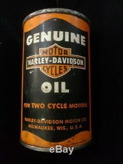 Rare Vintage Harley Davidson 1/2 Pint Two-cycle Oil Can Full