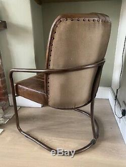 Rare Vintage Industrial Pilot Walnut Leather Barrel Office Chair CAN DELIVER