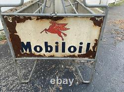 Rare Vintage Mobil Oil Bottle Can Carrying Rack Display Sign