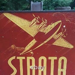 Rare Vintage Strata Motor Oil Can 2 Gallon Can Tiona Petroleum Bomber Plane Sign
