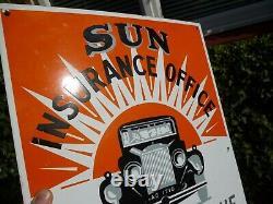 Rare Vintage Sun Insurance Enamel Sign (classic Car Automobilia Motor Oil Can)