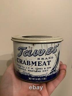 Rare Vintage Tawes Brand Crab Meat Can Crisfield, MD Maryland Crabmeat Tin