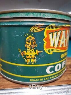Rare Vtg Advertising Wamba Indian Houston Texas Coffee Tin Can No Porcelain Sign
