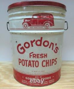 Rare Vtg. Gordon's Fresh Potato Chips Lidded Can withHandles 3-1/2 Lbs. Tin 14.75