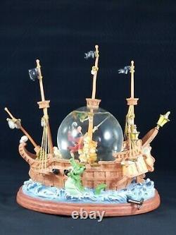 Rare Walt Disney Peter Pan You Can Fly Musical Snow Globe Captain Hook Lost Boy