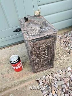 Rare black 1930s Shell Gallon Petrol Can. In orginal condition. Motor spirit