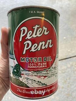 Rare original Peter Penn quart oil can graphics Peters oil co RARE Full