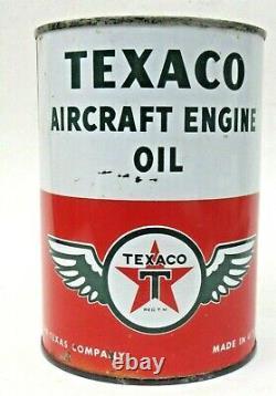 Rare original vintage TEXACO AIRCRAFT OIL Quart Can FULL high grade condition