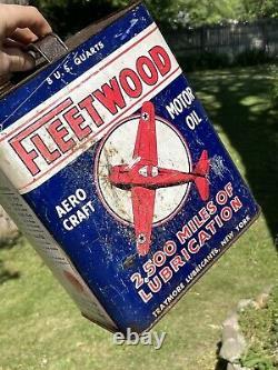 Rare vintage fleetwood aero craft motor oil 2 gallon can Plane Graphics