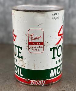 Strato Torque Motor Oil Quart Can Madison Wisconsin Heavy Duty Vintage RARE