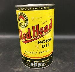 ULTRA RARE 1950's VINTAGE RED HEAD MOTOR OIL IMPERIAL QUART CAN