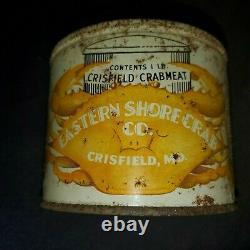 VINTAGE EASTERN SHORE CRAB CO. CRISFIELD, MD MD. 244-C CRABMEAT TIN CAN rare